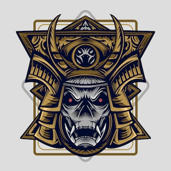 Samurai vector illustratie hoog detail symmetrie ontwerp kunstwerk