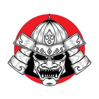 Samurai warrior helm illustratie