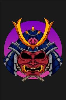 Samuraihoofd met lotusbloemillustratie