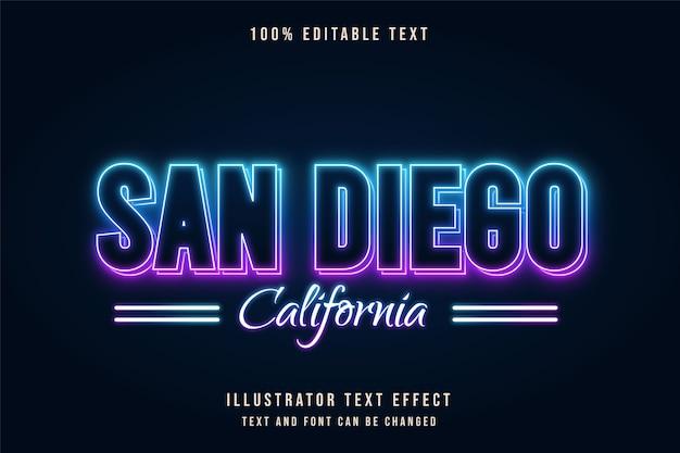 San diego californië, bewerkbaar teksteffect blauwe gradatie paarse neon tekststijl