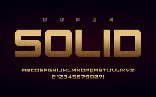 San serif hoofdletters en cijfers, alfabet met effect van de bladgoud.