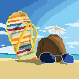 Sandaal en kokosnoot op het strand met pixelart-stijl