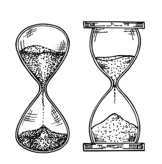 Sandglass schets illustratie. zandglas, met de hand getekende set