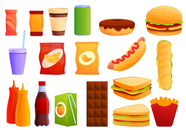 Sandwich bar set, cartoon stijl