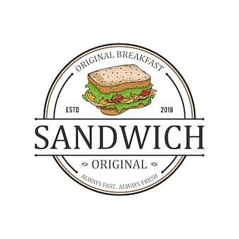 Sandwich burger fastfood logo voor eten en drinken restaurant - café-bar