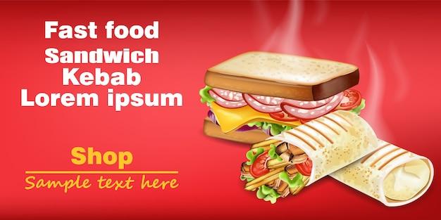 Sandwich en kebab realistische mock-up