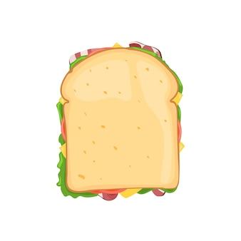 Sandwich groente met spek en kaas bovenaanzicht.