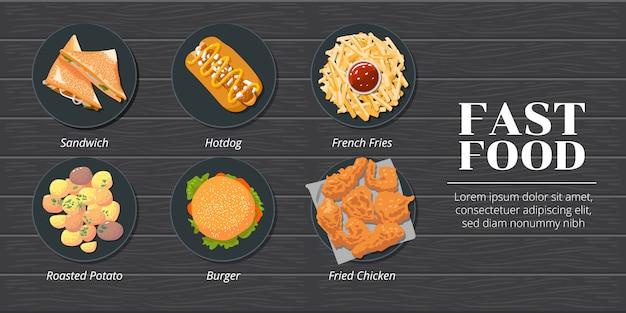 Sandwich, hotdog, patat, geroosterde aardappel, hamburger, gefrituurde kip fastfood set collectie