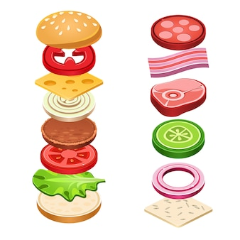 Sandwich ingrediënten voedsel