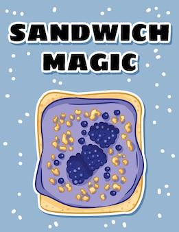 Sandwich magische ansichtkaart. toast brood sandwich met bramen en paarse boter verspreid gezonde poster. ontbijt of lunch veganistisch eten. voorraad vegetarisch eten banner