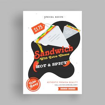 Sandwich menu flyer sjabloon.