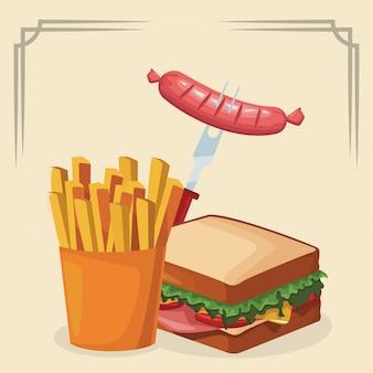 Sandwich met frietjes en vork met worst