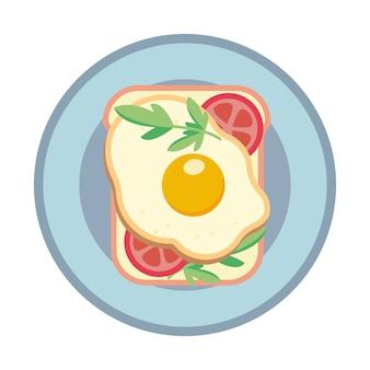 Sandwich met gebakken ei en tomaat. sandwich op een bord. illustratie.