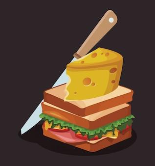 Sandwich met grote kaasplak en mes