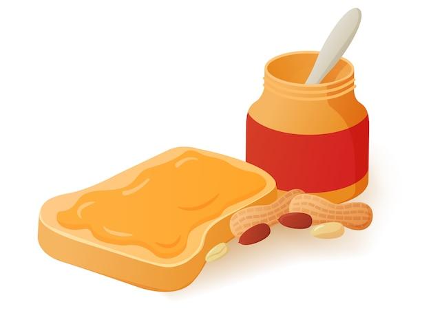 Sandwich met pindakaas op brood. gebakken toast eten. potje met pinda's.