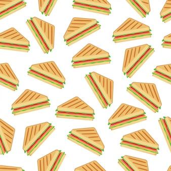 Sandwich naadloos patroon vectorontwerp als achtergrond