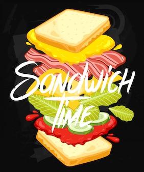 Sandwich op schoolbord