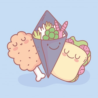 Sandwich temaki salade en kip been menu restaurant cartoon eten schattig