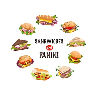 Sandwiches en panini illustratie