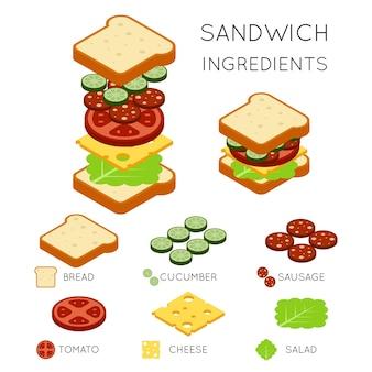 Sandwichingrediënten in 3d isometrische stijl. sandwichillustratie, voedselsandwich, ontwerp amerikaanse sandwichburger