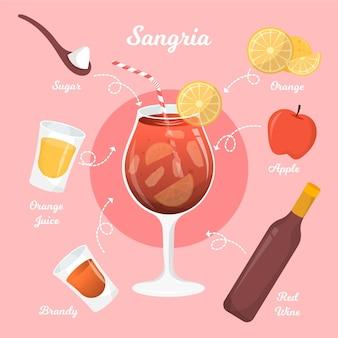 Sangria cocktail recept ontwerp