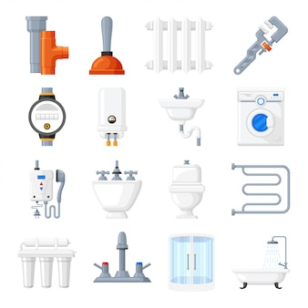 Sanitair apparatuur en hulpmiddelen vector iconen
