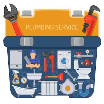 Sanitair dienstverleningsconcept met loodgieter tools en toolbox pictogrammen. geïsoleerde vectorillustratie.