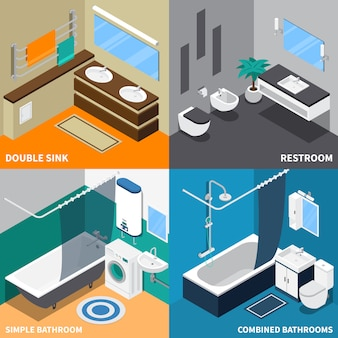 Sanitair isometrisch ontwerpconcept
