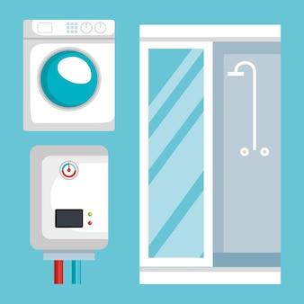 Sanitair lijn set pictogrammen
