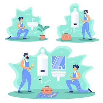 Sanitair service werkt platte concepten set