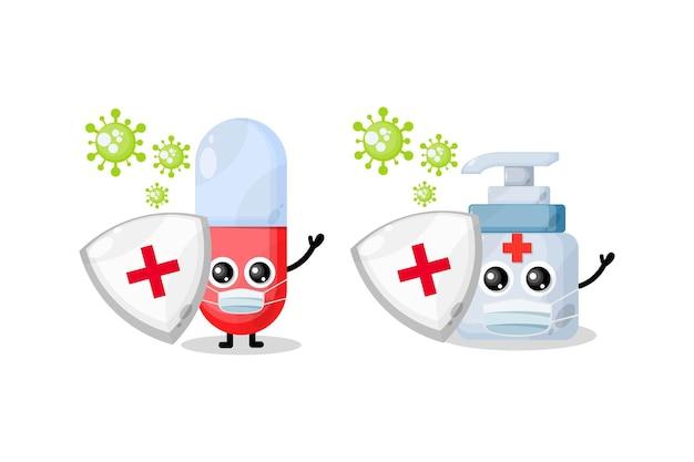 Sanitaire geneeskunde maskeert schattige karakters