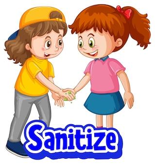 Sanitize lettertype in cartoon-stijl met twee kinderen houden geen sociale afstand geïsoleerd op een witte achtergrond