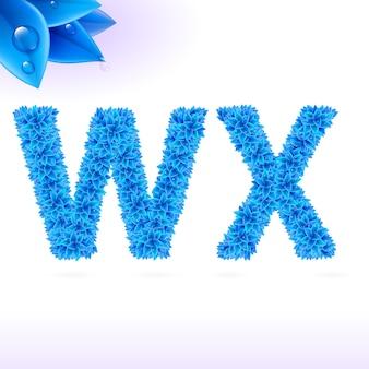 Sans serif-lettertype met blauwe bladdecoratie illustratie
