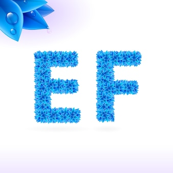 Sans serif-lettertype met blauwe bladdecoratie