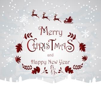 Santa aan de hemel merry christmas en gelukkig nieuwjaarskaart