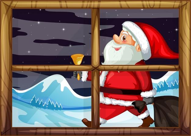 Santa bezorg geschenk buiten raam