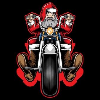 Santa biker rijden motorfiets