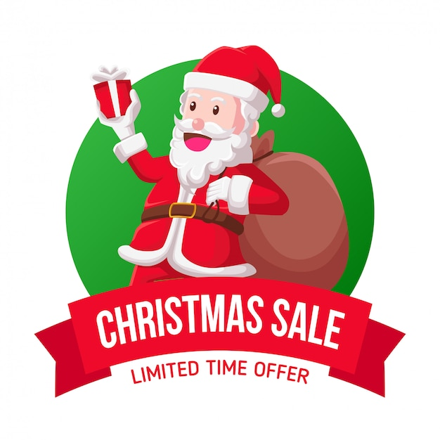 Santa christmas verkoop pictogram illustratie