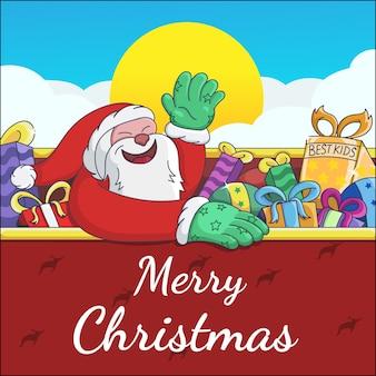 Santa christmas wenskaart illustratie