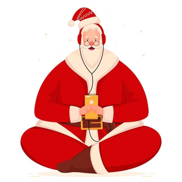 Santa claus bedrijf smartphone en luister naar muziek van hoofdtelefoon op witte achtergrond.