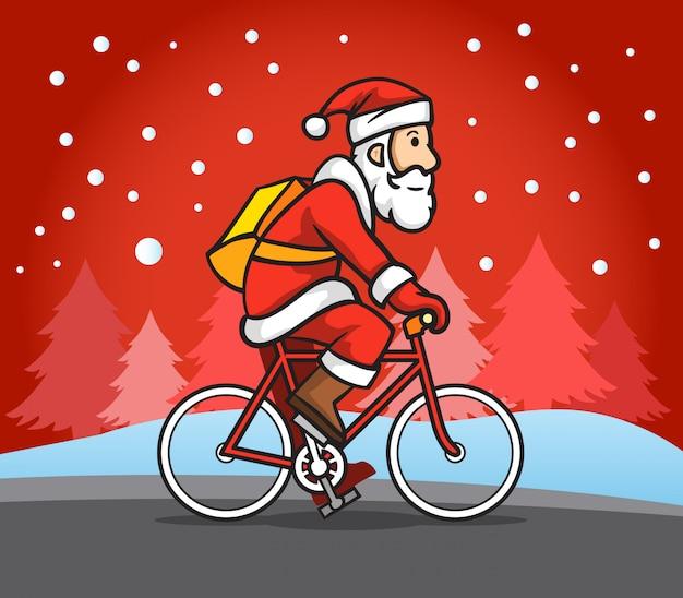 Santa claus-berijdende wegfiets in sneeuwregen.