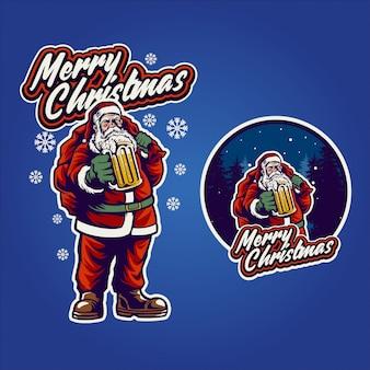 Santa claus bier wenskaart drinken
