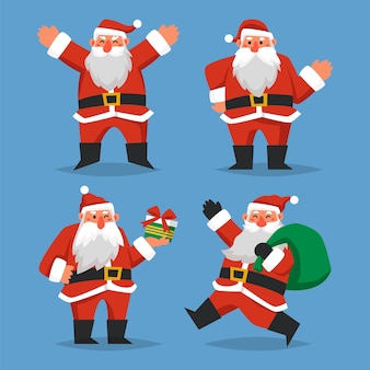 Santa claus character collection in plat ontwerp