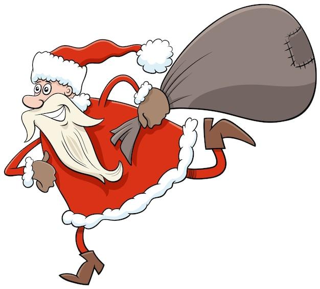 Santa claus christmas-karakter met zak met geschenken uitvoeren