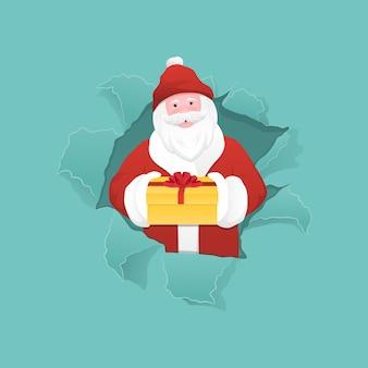 Santa claus die een giftdoos houdt en van gescheurd document gat gluurt