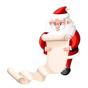 Santa claus die lijstillustratie op witte achtergrond controleert