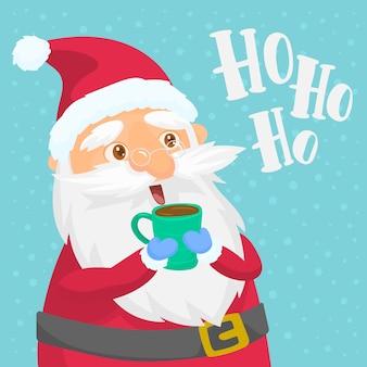Santa claus die van zijn snack geniet