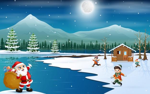 Santa claus die zak van giften voor kinderen houden te geven