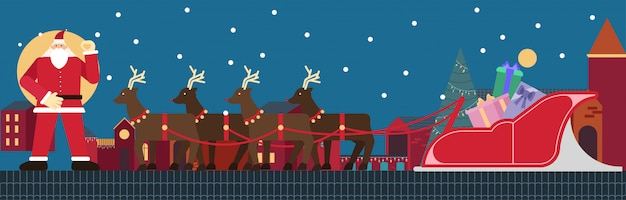Santa claus die zich op dak met rendieren en ar en giftdoos bevindt