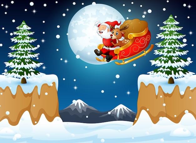 Santa claus die zijn ar berijden die over heuvel vliegt